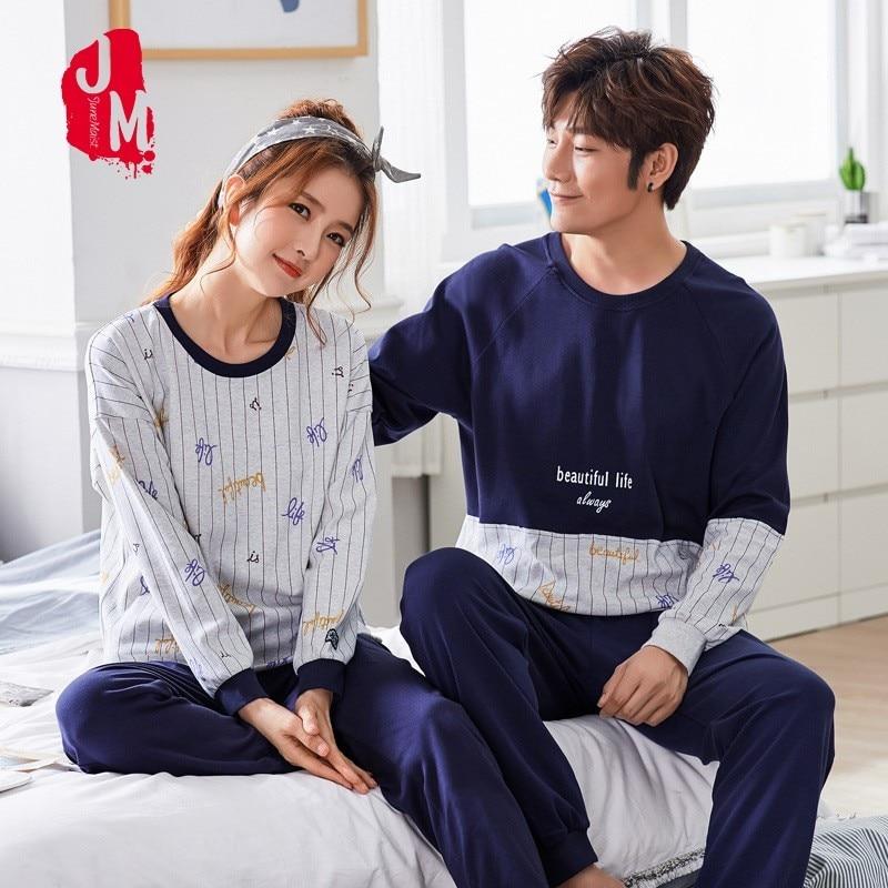 Sleep Lounge Winter Sleepwear Men Cotton Cartoon Pajamas Male Suit Pyjamas Long Solid Full Man Set O-neck XXL