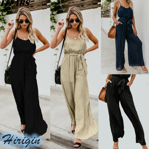 Summer   Jumpsuits   2019 New Summer Women Casual Solid Loose Sleeveless V-Neck High Waist Strap   Jumpsuit