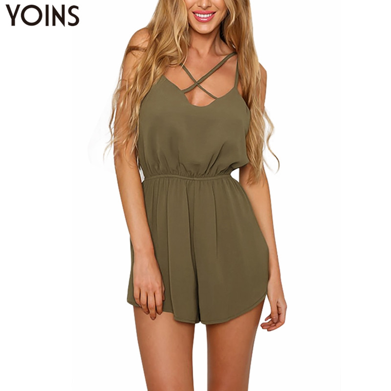 YOINS Women Army Green Spaghetti Strap   Jumpsuit   Sexy Criss Front 2019 Summer Playsuit Swing Sleeveless Rompers Short Bodysuits