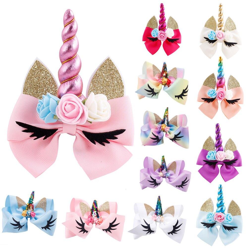 Baby Girls Hair Bows Cute Sweet Cartoon Unicorn Baby Kids Headbands Princess Big Bow Hair Clip Bands Headwear For Toddler Child
