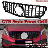 For AMG GT R Car Front Bumper Grille Grill For Mercedes For Benz Facelift A Class W176 A200 A250 A45 2016 2018 Without Emblem