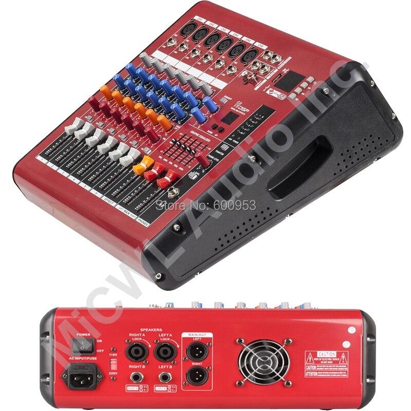 Pro rouge 6 canaux 800 W watt karaoké scène mélangeur de puissance Console de mixage son voix processeur sans fil Bluetooth PMR601-AMP