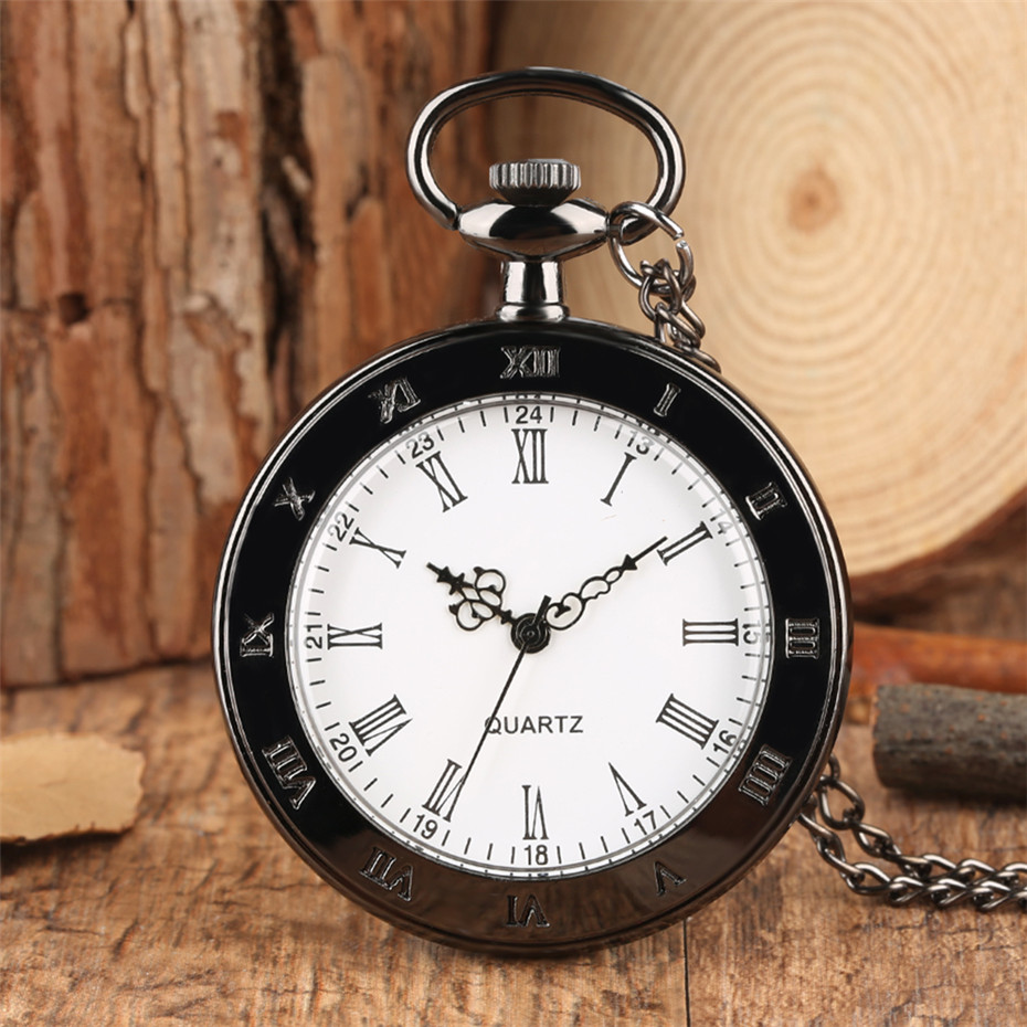 Open Face Roman Numerals Display Pocket Watch Quartz Necklace Watch Black Old Fashion Necklace Watch Gifts For Men Women Reloj