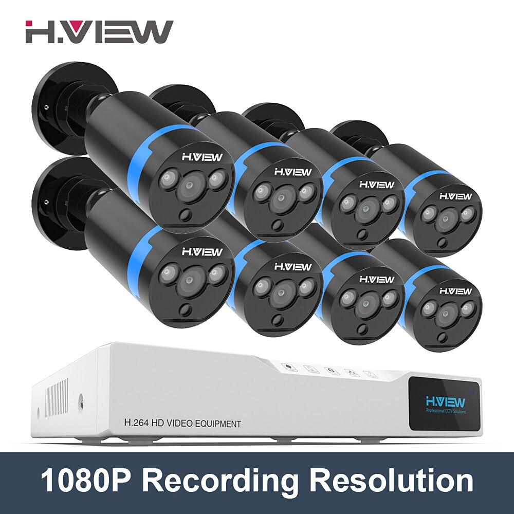H. VUE 8ch CCTV Système de Caméra de Sécurité 8ch AHD DVR 1080 P Enregistrement 8 1080 P Caméras de Sécurité Surveillance Kit CCTV caméra Système