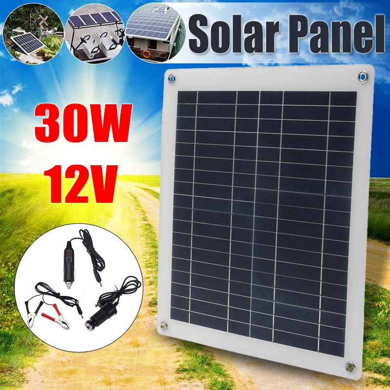 30W Solar Panel 2 Usb Interface12V/5V Polysilicon Silicon Cell For Battery Cell Phone Chargers Cigarette Lighter|Solar Panel| |  - title=