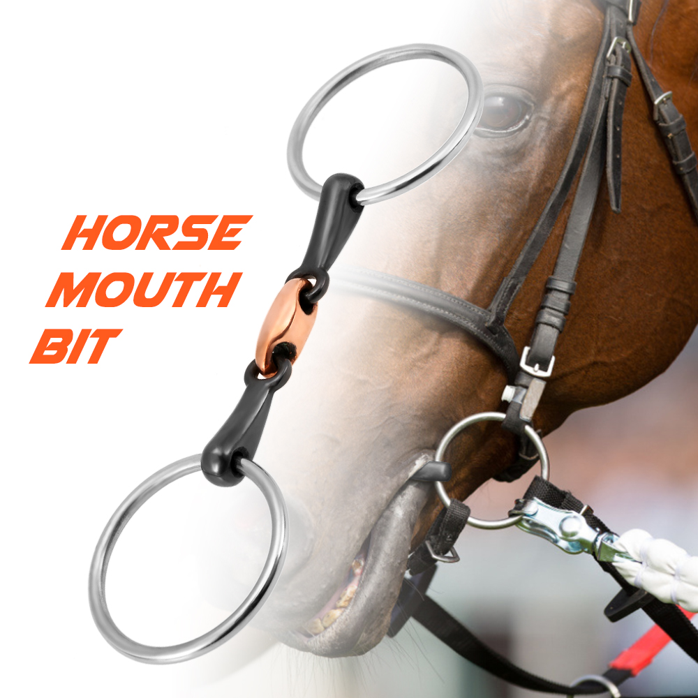 Image 2 - Stainless Steel Horse Mouth Bit Horse Mouth Piece Equestrian Snaffle Copper Link Bit Horse Racing Accessory-in Horse Care Products from Sports & Entertainment