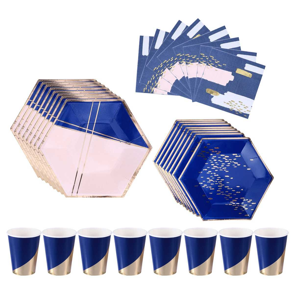 40pcs Gilding Decorative Disposable Paper Napkins Cups Plates for Baby Showers Birthday Weddings