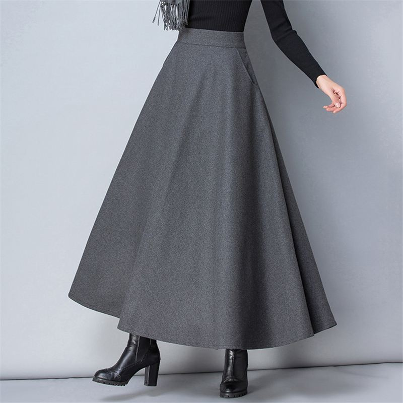 New Women Wool blend Mixed Color Swing Skirts Maxi Long Dress Warm Retro Casual