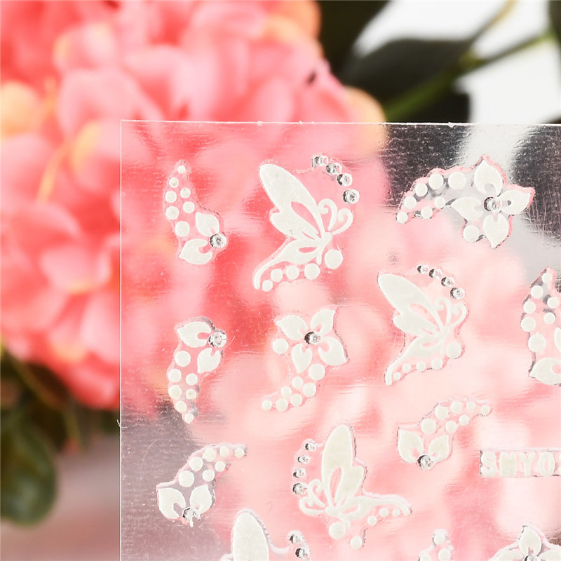 NEW 1 Sheet 3D Cute Nail Stickers Decals White Sliver Flowers Butterfly Rhinestone Nail Art Decorations Stickers in Stickers Decals from Beauty Health