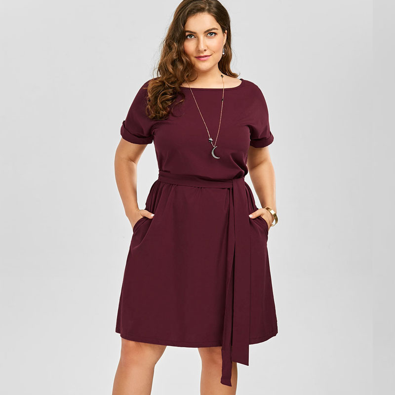 Wipalo Plus Size Belted Knee Length Dress With Pockets Women Cloth...