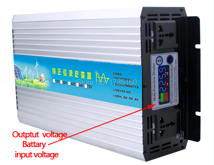 3000w <font><b>inverter</b></font> pure sine wave max <font><b>6000w</b></font> power DC <font><b>24V</b></font> to AC 220V for solar wind home use image