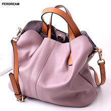 Solid color leather handbag Fashion contrast-color suede shoulder slung handbags female soft bag T10