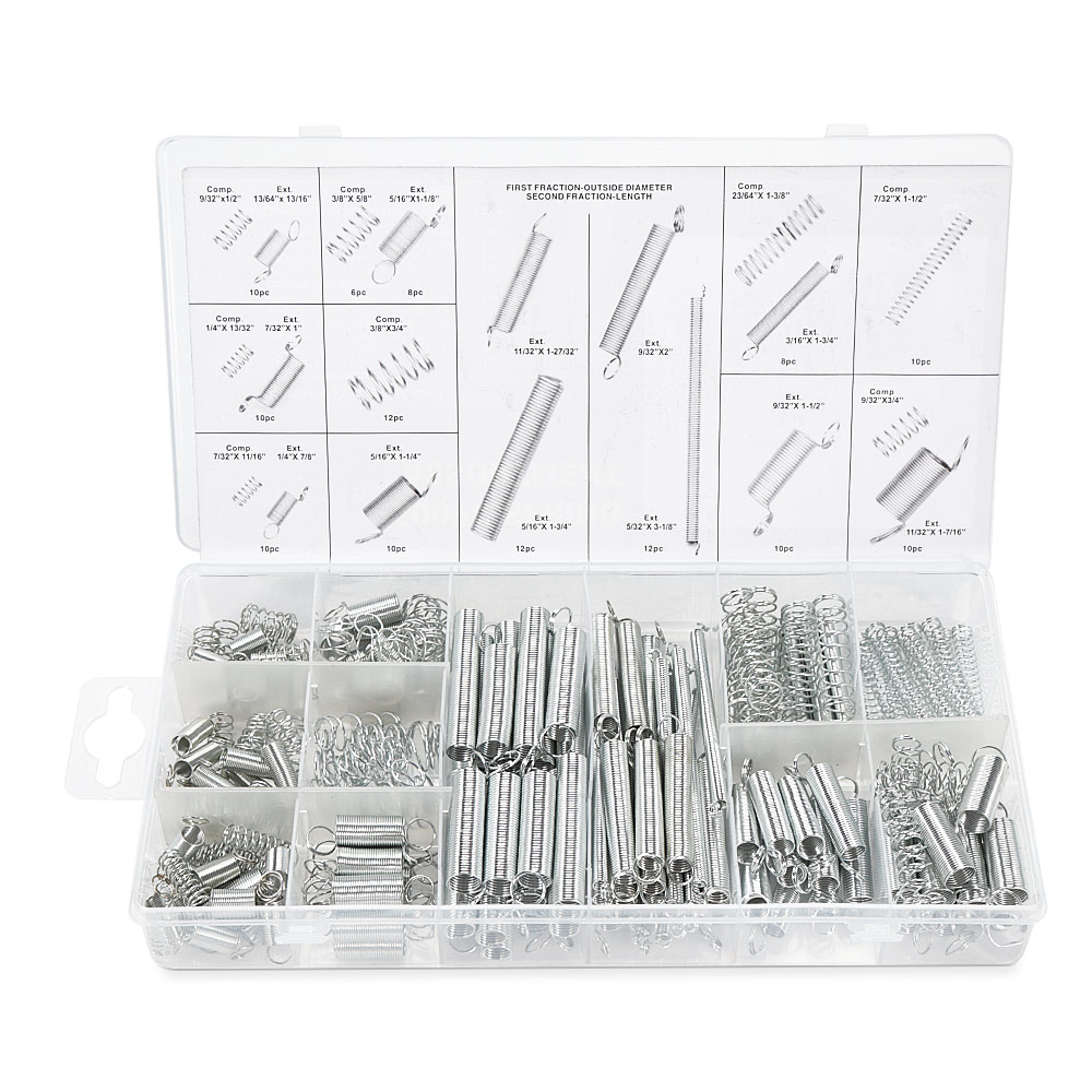 200pcs Extension Tension Compression Spring Assortment Metal Springs Kit with Box