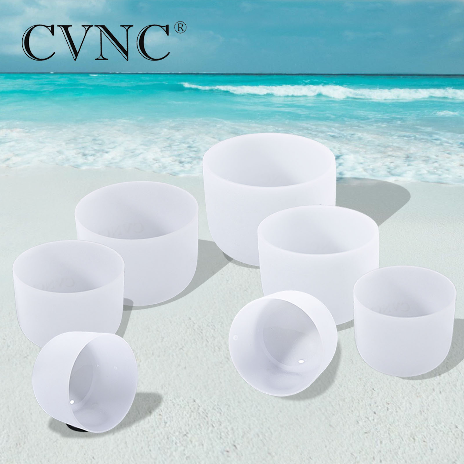 CVNC High purity 440Hz or 432Hz Chakra Tuned Set of 7pcs 8 - 16 Frosted Quartz Crystal Singing BowlsCVNC High purity 440Hz or 432Hz Chakra Tuned Set of 7pcs 8 - 16 Frosted Quartz Crystal Singing Bowls