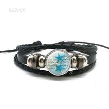 New Fashion Starfish Black Leather Bracelet , Glass Cabochon Sea Life  Art Jewelry Women Button Gifts