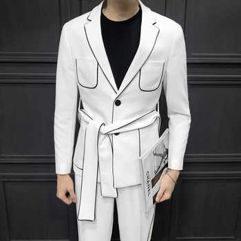 2019 Spring Long Sleeve Belt Decoration Man's Suit Korean Self-cultivation Weave Bring Full Dress Suit Man Suit Ternos Masculino - DISCOUNT ITEM  48% OFF All Category