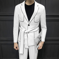 2019 Spring Long Sleeve Belt Decoration Man's Suit Korean Cultivation Dress Suit Man Suit Ternos Masculino 2 Pcs( Jacket+pant)