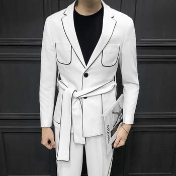 16fe266b5 2019 primavera manga larga correa decoración hombre traje coreano de  auto-cultivo tejido pleno ...