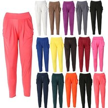 Natural Hot New Womens Fashion Casual Harem Baggy Dance Long Pants Solid