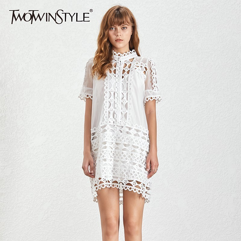 TWOTWINSTYLE Hollow Out Casual Women Dress Stand Short Sleeve Button Loose Knee Length Straight Dresses Female
