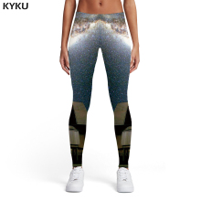 KYKU Brand Galaxy Leggings Women Metal Sexy Aurora Leggins Nebula Ladies Military Trousers Womens Pants Casual Fashion