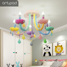 Artpad Modern Sweet Crystal Chandeliers Macaron Colorful Droplight Children Bedroom Girl Princess Decoration Glass Lustre Lamp