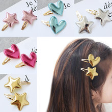 Hair Clips 1Pair Smooth Bang clip Kids Side clip 5 Colors The glossy coat of paint Star For Children Heart Girls BB Clips(China)