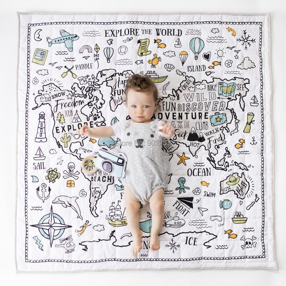 100% Organic Square Quality Quilted World Map Explorer | Extra Large Organic Playmat For Baby Infant Toddler And Kids