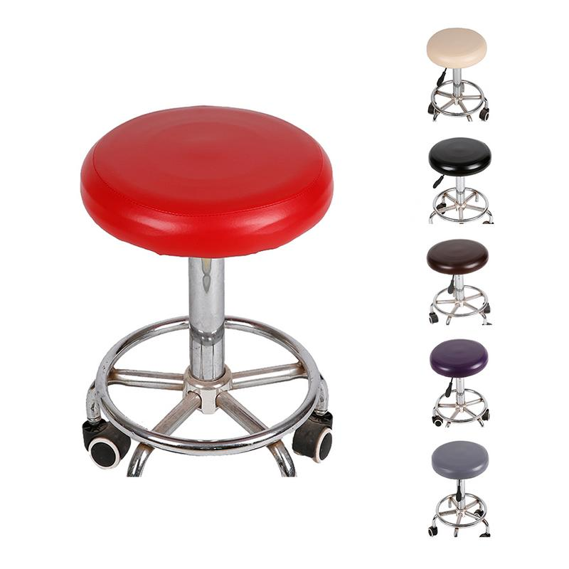 Fine Us 2 69 30 Off Elastic Pu Leather Round Stool Chair Cover Waterproof Pump Chair Protector Bar Beauty Salon Small Round Seat Cushion Sleeve In Chair Interior Design Ideas Clesiryabchikinfo