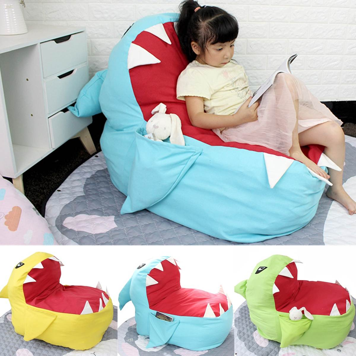 Children Seat Sofa Kids Bean Bag Cartoon Shark Skin Upscale Baby Chair Toddler Nest Puff Seat Bean Chair Only Cover No Filling