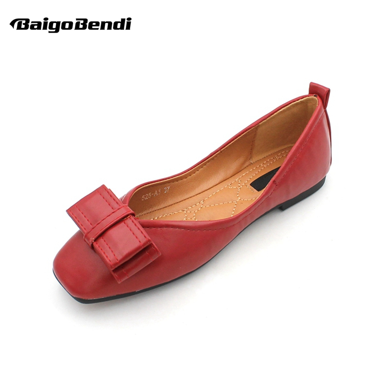 Trendy Bowknot Flats Woman Shallow Mouth Pu Leather Ballet Ladies Elegant Shoes Girls Gift Black Yellow