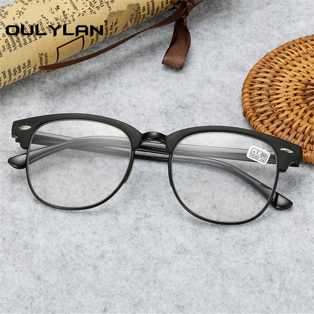 Oulylan Classic Reading Glasses Men Retro TR90 Half Frame Presbyopic Eyeglasses Anti Fatigue