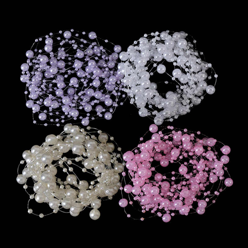 5m/lot Fishing Thread with Beads Artificial Pearl Beads Chain for DIY Wedding Party Garment Bouquet Decoration Supplies IB006