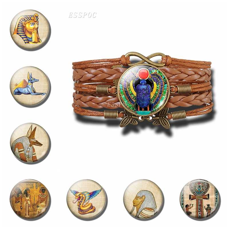 Egipski Ankh bransoletka z krzyżem w stylu Vintage starożytny egipt Anubis skarabeusz bogini ręcznie wielowarstwowe skórzane bransoletki dla mężczyzn dla kobiet prezent