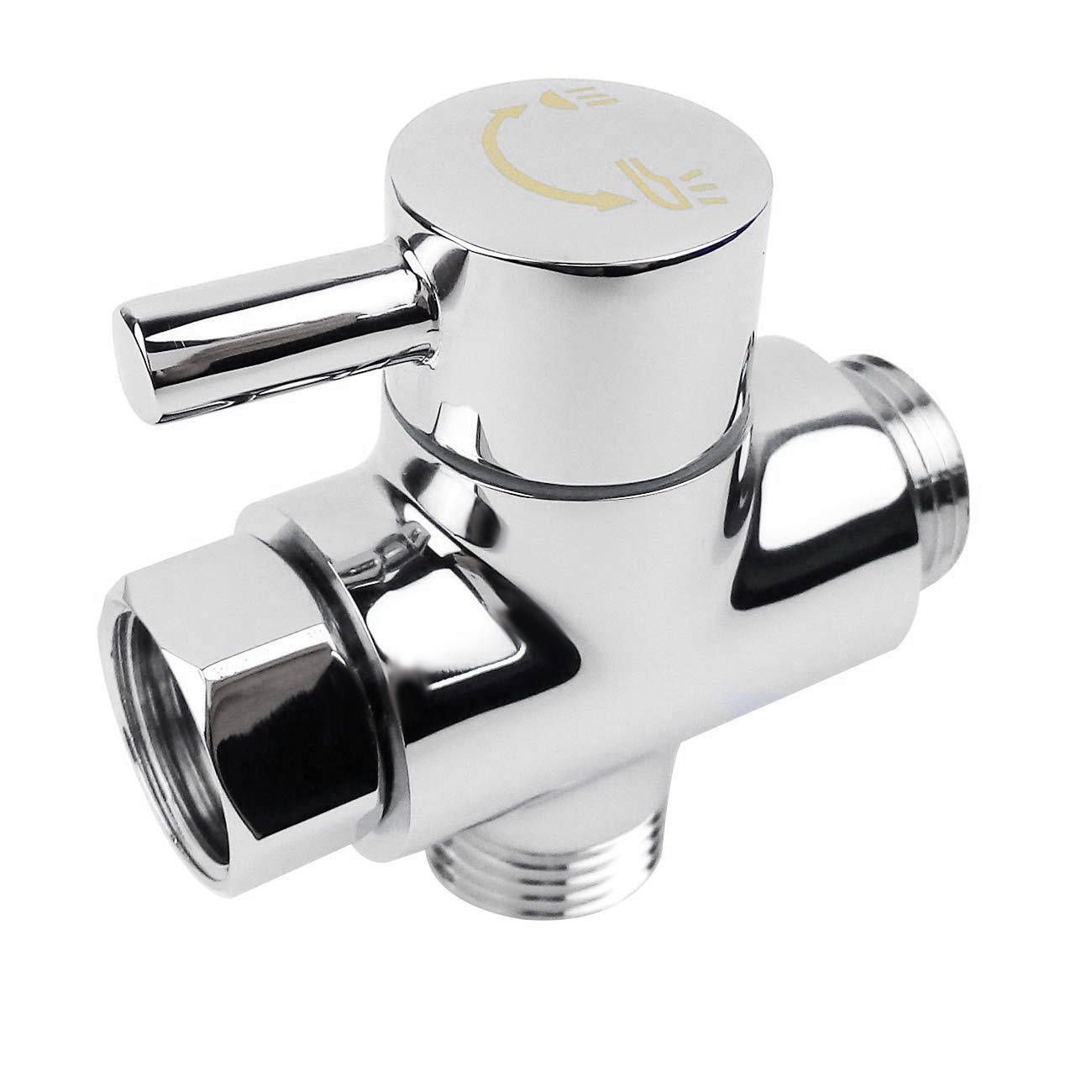 Solid Diverter Three Head Function Diverter Valve 3 Way Tee Connector All 1/2 Inch IPS Shower System Spare Part, Copper Chrome