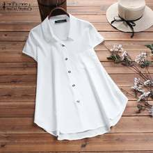 ZANZEA Women Blouse Shirt Short Sleeve Soft Tunic Tops Fashion 2019 Summer Blusa Feminina Casual Solid Work Chemise Plus Size