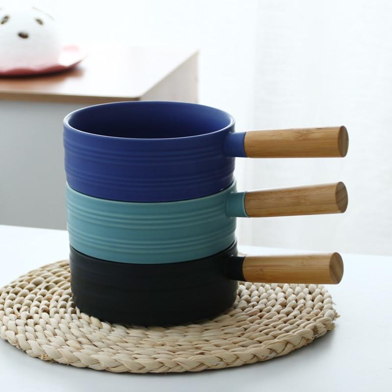 Nordic Ceramic Soup Rice Bowl Sigle Wooden Handle Pan 3