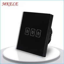 3 Gang 1 Way Light Switch for black color Touch Switch EU Standard Touch Screen Wall Switch Wall Socket For Lamp switch eu standard switch wall touch switch luxury white crystal glass 1 gang 1 way switch 220v lamp touch sensor wall switch