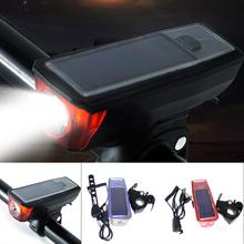 Solar Bicycle Light USB Rechargeable Cycling Front 140 db 5 Modes Bike Headlight Super Bright Flashlight Compact Lamp
