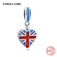BAMOER Authenticl 925 Sterling Silver Pink Heart  British Flag Charms Fit Bracelets Necklaces Mother Gift
