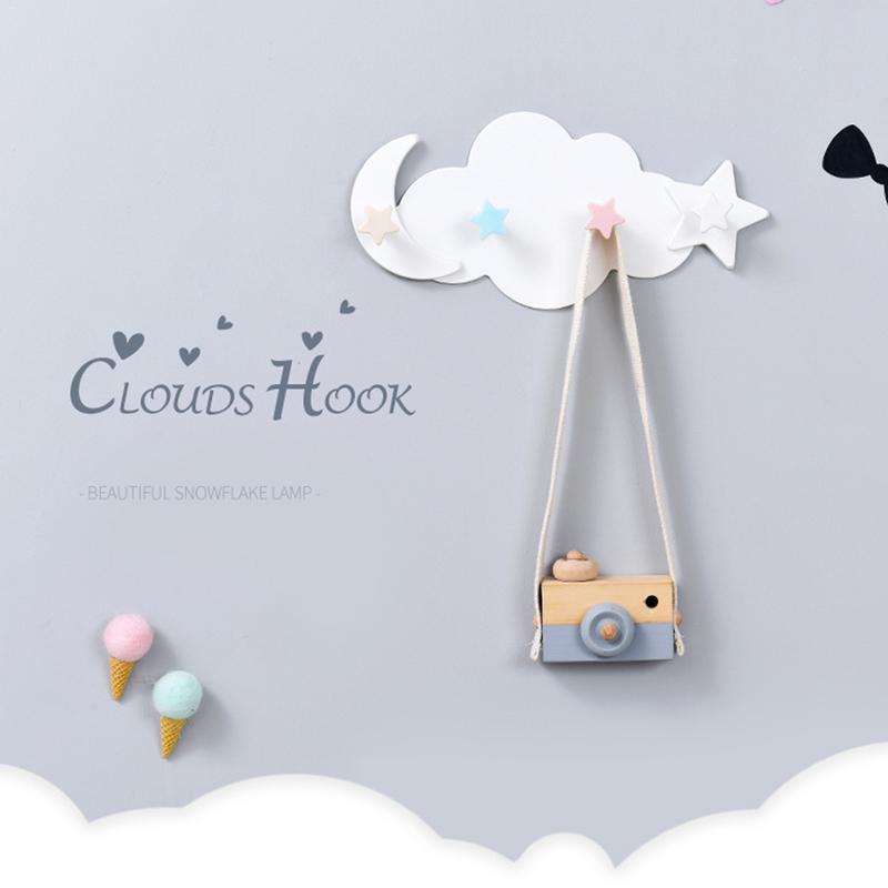 Wall Mounted Key Holder Creative Star Moon Cloud Shape Nail Free 4 Hooks Bathroom Moisture proof Multi Functional Hooks