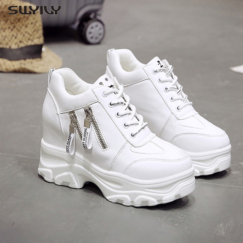 SWYIVY Platform Women Shoes 2019 New Fashion Dad Shoes Spring Female Casual Sneakers Wedge High Heel Beige/White Sneakers Zipper