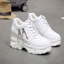 SWYIVY Platform Women Shoes 2019 New Fashion Dad Spring Female Casual Sneakers Wedge High Heel Beige/White Zipper
