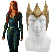 Aquaman Justice League Cosplay Princess Crown Mask Mera Tiara Costume Headwear Halloween Helmet Carnival Props PVC Accessories