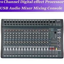 New MiCWL 16 Channel Processador de efeitos digitais Console de mistura de mixagem de audio USB 48V Audio Mixer Mixing Console