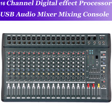 Novo micwl 16 canais processador de feitos digitais console de mistura de áudio usb 48 v misturador de áudio console de mistura