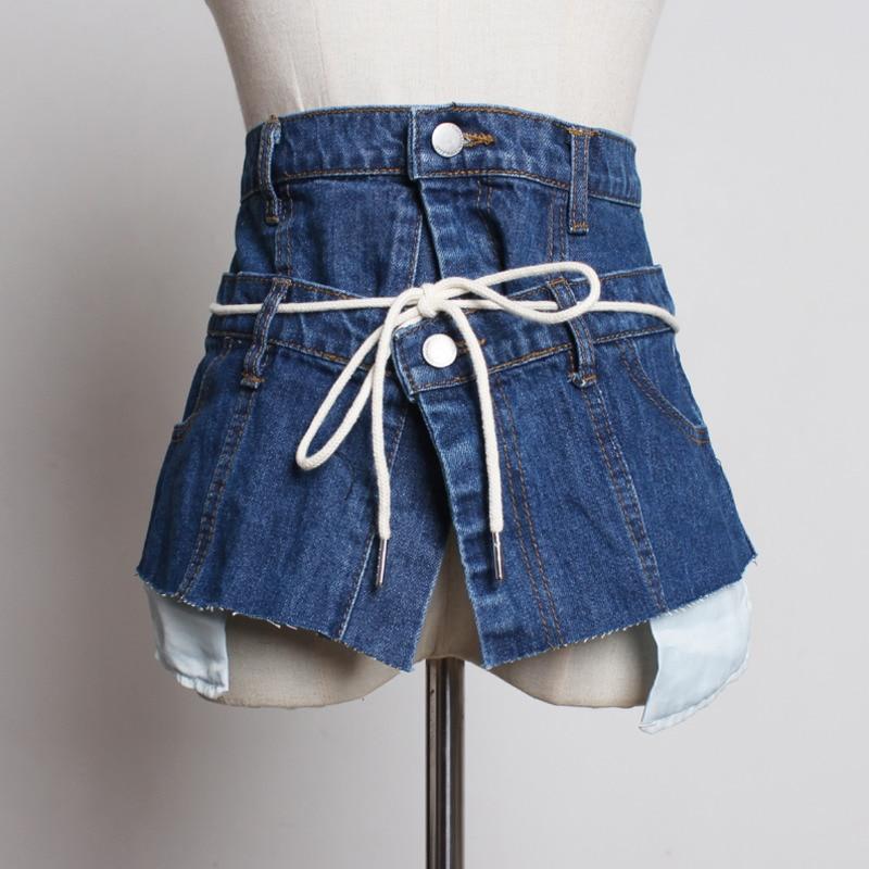 LANMREM 2020 New Fashion All-match Irregular Patchwork Denim Cummerbunds For Women Personal Female's Clothing Accessories YG585