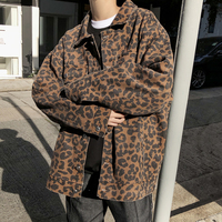2019 Spring Streetwear Pattern Leopard Print Jacket Loose Camouflage Cotton Men Coat Pockets Turn Down Collar Male Clothes