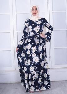Image 3 - Elegante Muslimischen Abaya Drucken Floral Kleid Frauen Strickjacke Lange Kleid Dubai Jubah Ramadan Thobe Islamische Verehrung Gebet Kleidung