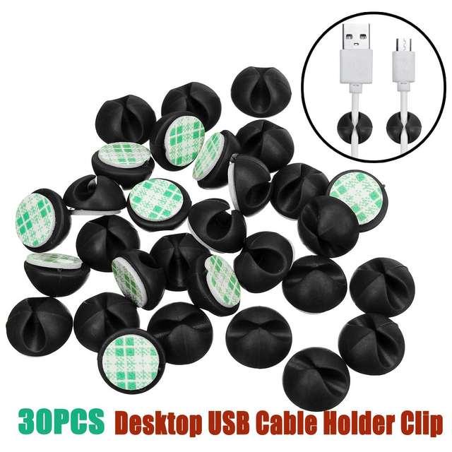 30 pçs da parede de mesa do carro cabo de fio usb linha prendedor clipes suportes organizador retentor braçadeira grampos amarração linhas fixas